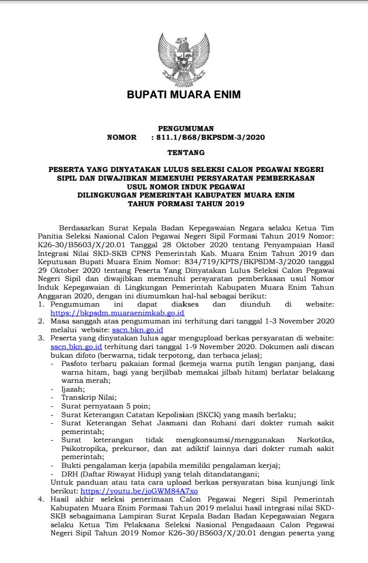 PENGUMUMAN HASIL SELEKSI CPNS PEMERINTAH KABUPATEN MUARA ENIM FORMASI TAHUN 2019