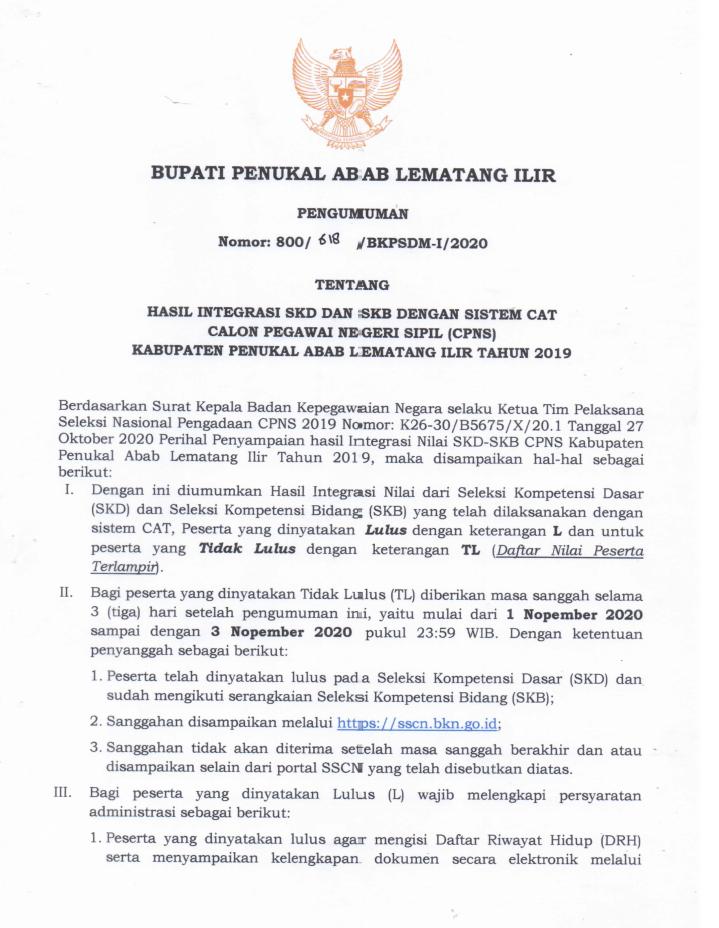 Pengumuman Hasil Seleksi CPNS Pemerintah Kabupaten PALI Formasi Tahun 2019